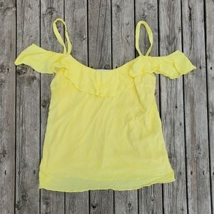 L'Academie yellow off the shoulder riddle tank top